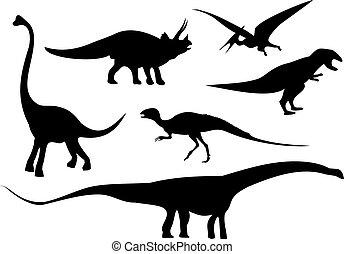 vector illustration of a dinosaur set