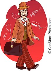 vector illustration of a doctors in ancient history