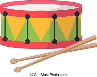 Vector illustration of a drum in cartoon style isolated on white background