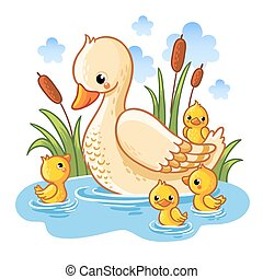 Vector illustration of a duck and ducklings.