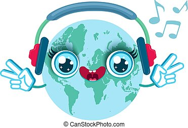 Earth with headphones