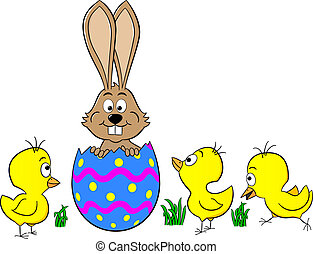 easter bunny hatching from an egg