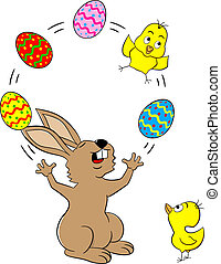 easter bunny juggling with easter eggs and a chick