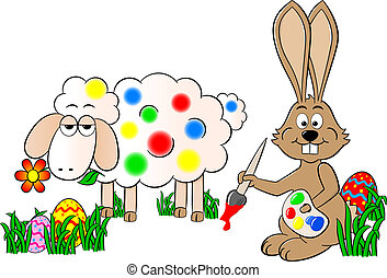 easter bunny painting a sheep colorful