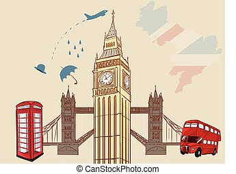 vector illustration of a England - London