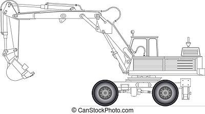 Vector illustration of a excavator