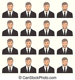 vector illustration of a face expressions set