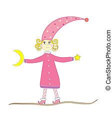 vector illustration of a fairy girl