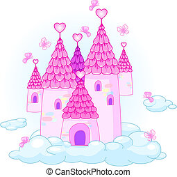 Vector Illustration of a Fairy - Tale Princess Castle in the...