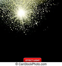 Vector illustration of a falling shiny golden glitters, confetti on a black background
