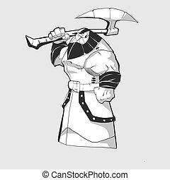 Vector illustration of a male cartoon fantasy warrior holding a giant war axe