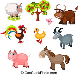farm animals - vector illustration of a farm animals