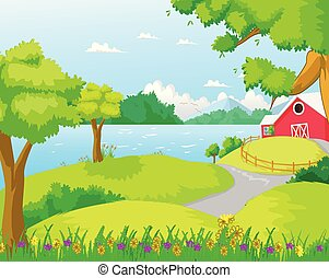 Illustration of a farm at the forest near the river