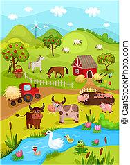 farm card - vector illustration of a farm card
