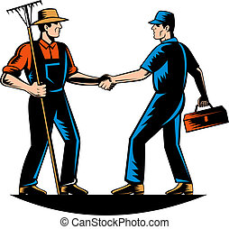 vector illustration of a farmer and a tradesman, repairman, plumber or handyman shaking hands