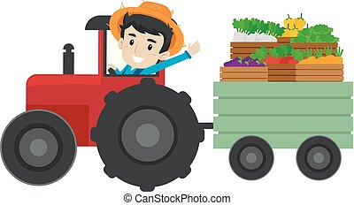 Farmer driving a tractor full of Fruits and Vegetables