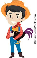 Vector Illustration of a Farmer Man holding a Rooster