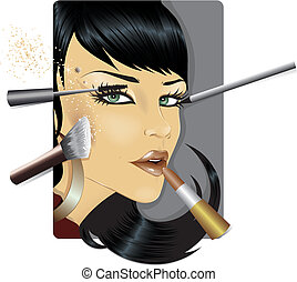 Vector illustration of a fashion model face for make up