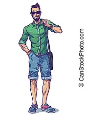 Vector illustration of a fashionable guy