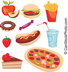 vector illustration of a fast food set