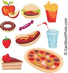 vector illustration of a fast food set