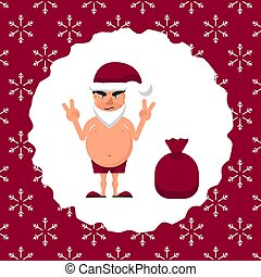 Vector illustration of a fat man in Santa hat