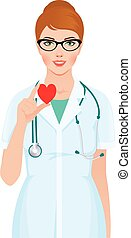 Vector illustration of a female doctor or nurse with stethoscope holding heart symbol in hands
