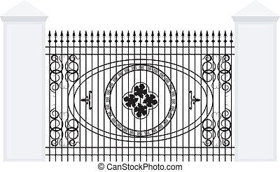 Vector illustration of a fence with iron railing