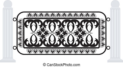 Vector illustration of a fence with iron grating