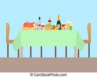 Vector illustration of a festive table