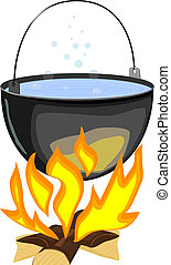 Vector illustration of a fire and a pot