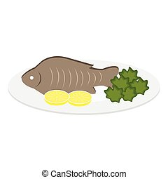 Vector Illustration of a fish dish