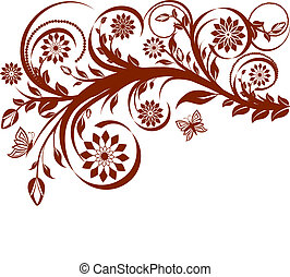 floral background with butterflies.