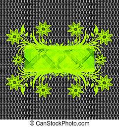 vector illustration of a floral frame on net metal texture