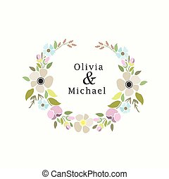 vector illustration of a floral set with laurel