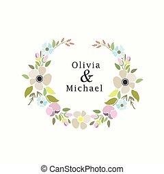 vector illustration of a floral set with laurel