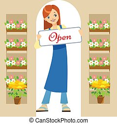 florist - Vector illustration of a florist in a flower shop