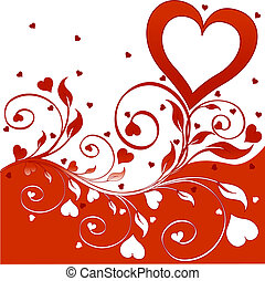 flower background with hearts.