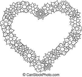 flower border heart