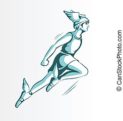 Vector illustration of a flying Hermes in fairy sandals