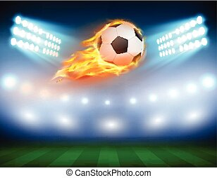 Vector illustration of a football in a fiery flame.
