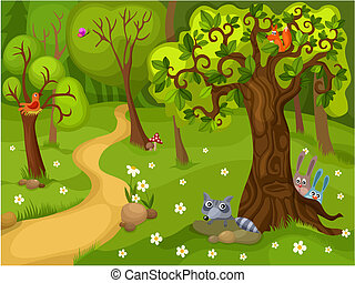 forest background - vector illustration of a forest ...