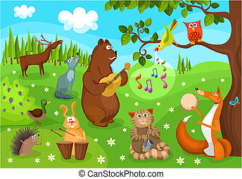 forest concert - vector illustration of a forest concert