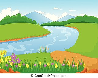 illustration of a forest with a river and flower