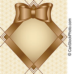 Vector illustration of a frame with bow on floral background