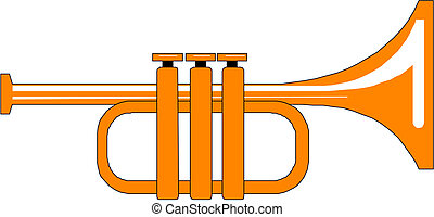 illustration of a french horn.