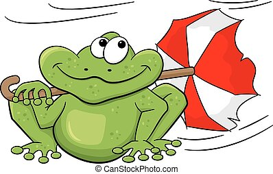 frog with umbrella sitting in storm