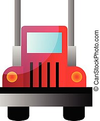 Vector illustration of a front view of a big red truck on white background