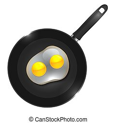 Vector illustration of a frying pan with omelette view from above