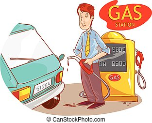 vector illustration of a gas station and the guy